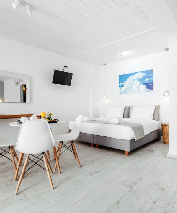 The Mykonos Essence Hotel Family Room with courtyard, offers spacious accommodation for up to 5 people.